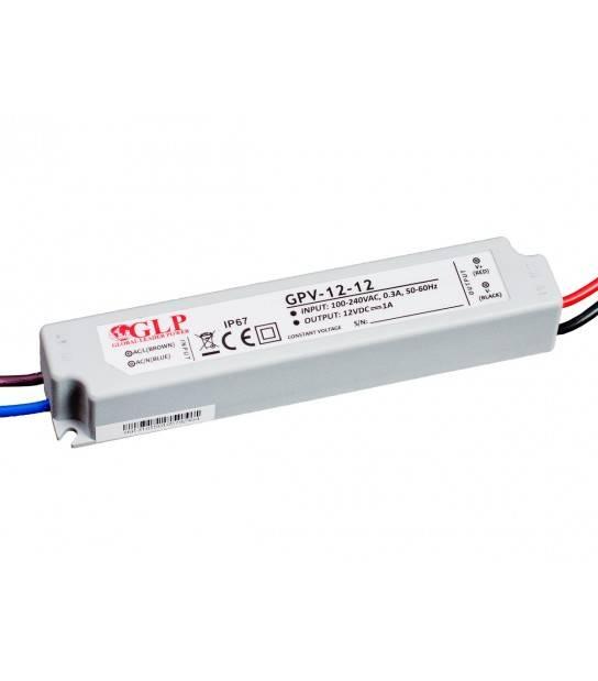 Transformateur spécial Led 12V de 12W GPV-12-12 GLP - GLP-GPV-12-12 - TRANSFORMATEUR SPECIAL LED - siageo-led.com