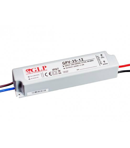 Transformateur spécial Led 12V de 35W GPV-35-12 GLP - GLP-GPV-35-12 - TRANSFORMATEUR SPECIAL LED - siageo-led.com
