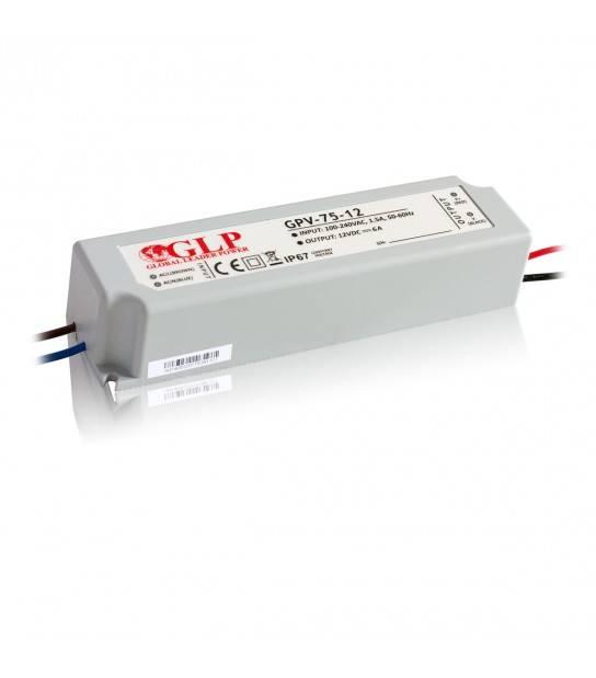 Transformateur spécial Led 12V de 75W IP67 GLP - GLP-GPV-75-12 - TRANSFORMATEUR SPECIAL LED - siageo-led.com