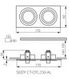 Spot Encastrable SEIDY Aluminium brossé Réctangulaire 2 spots GU5.3/GU10 IP20 Orientable 30° KANLUX - 18282 - ORIENTABLE - siageo-led.com