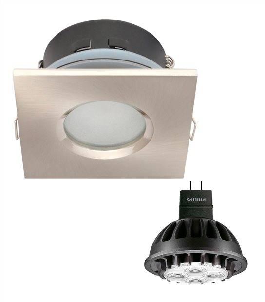 Pack Spot encastrable salle de bain Blanc Carré GU5.3 MR16 IP65 7W Blanc Neutre ampoule fournie PHILIPS - PACK SPOT SALLE DE BAIN - siageo-led.com