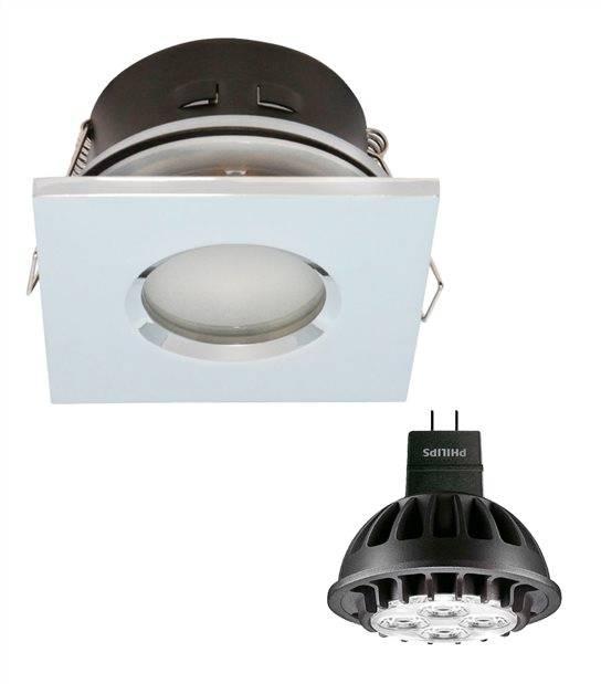 Pack Spot encastrable salle de bain Nickel satiné Carré GU5.3 MR16 IP44 7W Blanc Neutre ampoule fournie PHILIPS - PACK SPOT SALLE DE BAIN - siageo-led.com