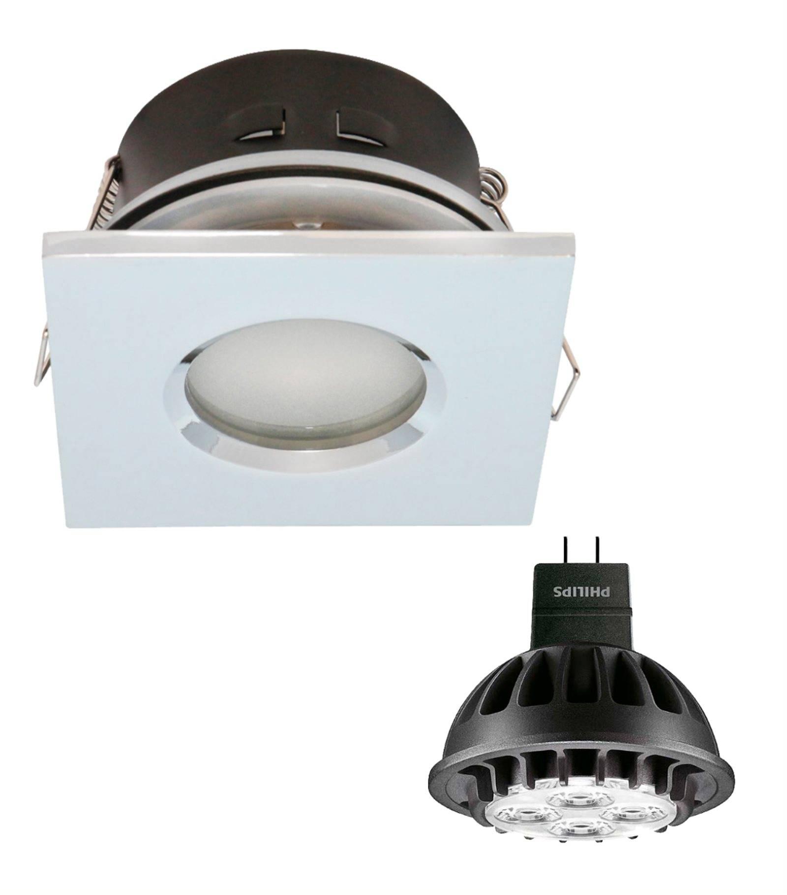 pack spot encastrable salle de bain nickel satin carr gu5 3 mr16 ip44 7w blanc neutre ampoule. Black Bedroom Furniture Sets. Home Design Ideas
