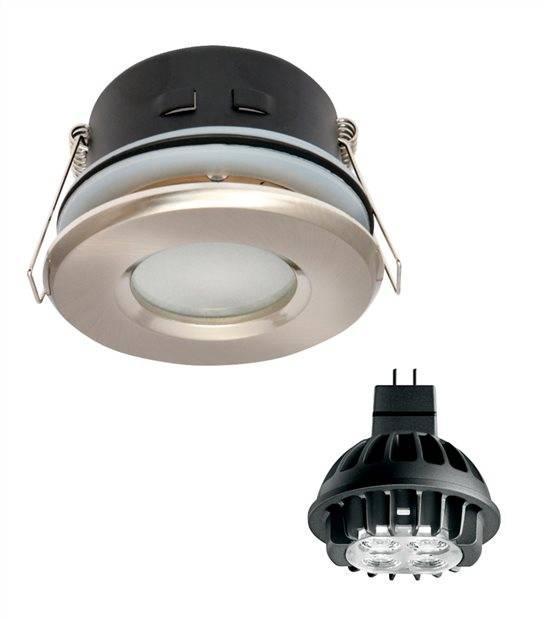 Pack Spot encastrable salle de bain Nickel satiné Rond GU5.3 MR16 IP44 7W Blanc Chaud ampoule fournie PHILIPS - PACK SPOT SALLE DE BAIN - siageo-led.com