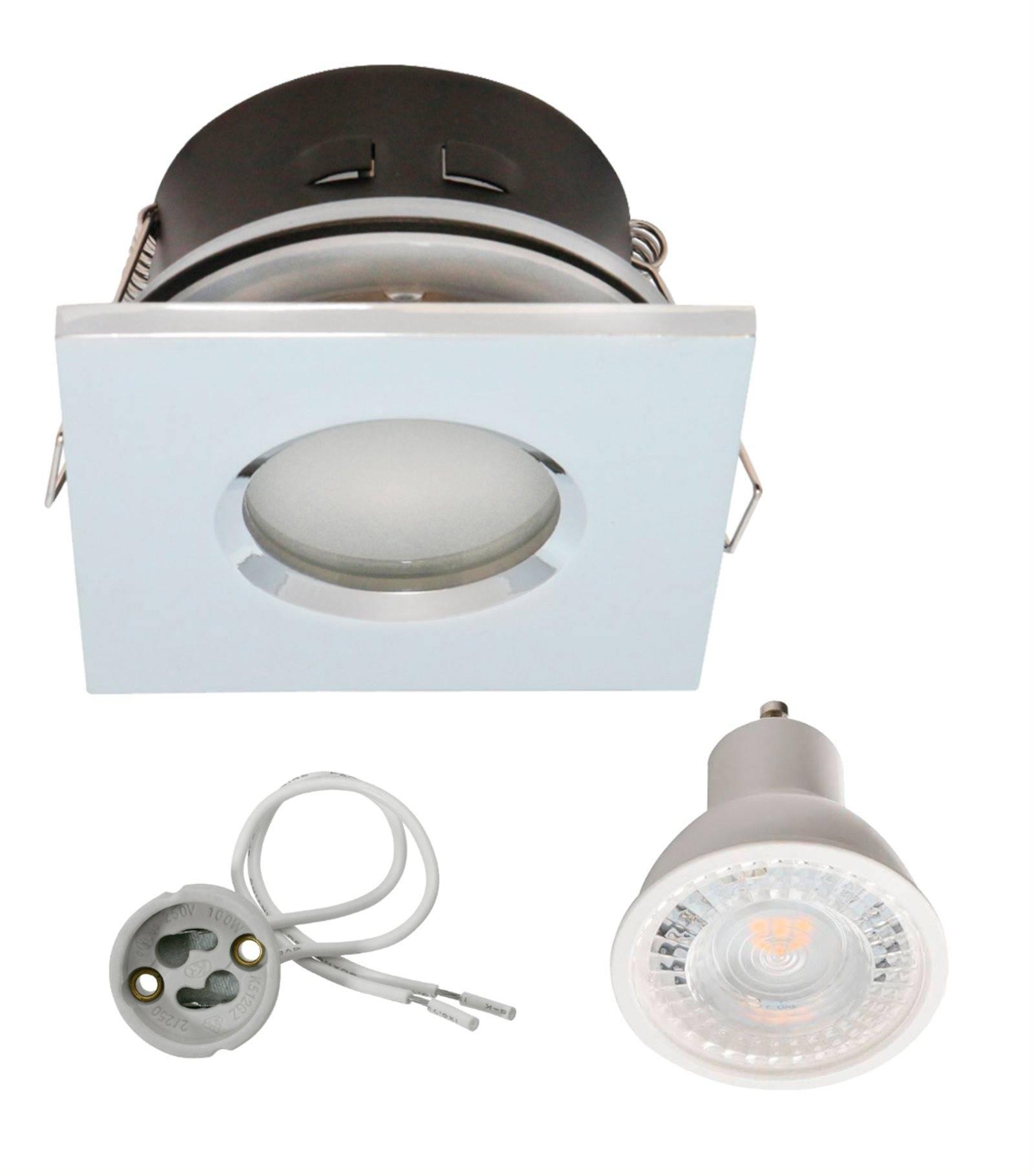 pack spot encastrable salle de bain chrome carr gu10 ip67 7w blanc neutre ampoule fournie. Black Bedroom Furniture Sets. Home Design Ideas