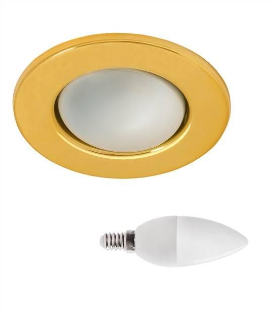 Pack Spot encastrable Or Rond E14 IP20 6,5W Blanc Neutre ampoule fournie KANLUX - PACK SPOT SALON - siageo-led.com