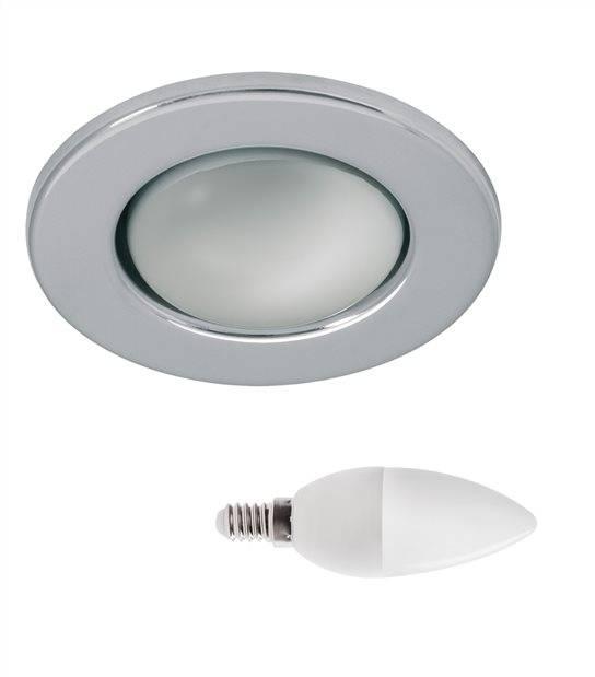 Pack Spot encastrable Chrome Rond E14 IP20 6,5W Blanc Neutre ampoule fournie KANLUX - PACK SPOT SALON - siageo-led.com