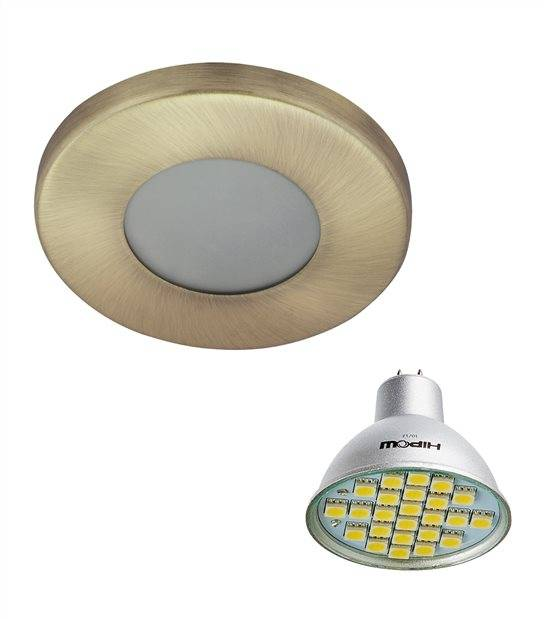 Pack Spot encastrable salle de bain Laiton antique Rond GU5.3 MR16 IP44 4W Blanc Froid ampoule fournie HIPOW - PACK SPOT SALLE DE BAIN - siageo-led.com