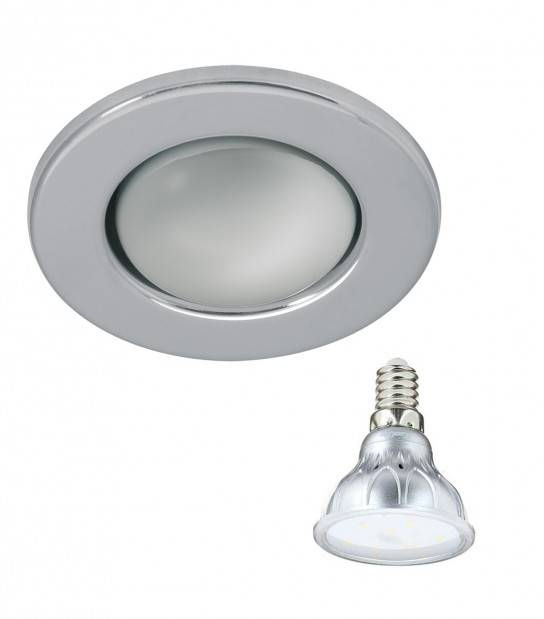 Pack Spot encastrable Chrome Rond E14 IP20 4,2W Blanc Chaud ampoule fournie XANLITE - PACK SPOT SALON - siageo-led.com