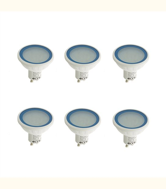 Pack 6 Ampoules LED GU10 MR20 Dimmable à 36 SMD 4W 280Lm (équiv 35W) Bleu EASY CONNECT - AMPOULE GU10 - siageo-led.com