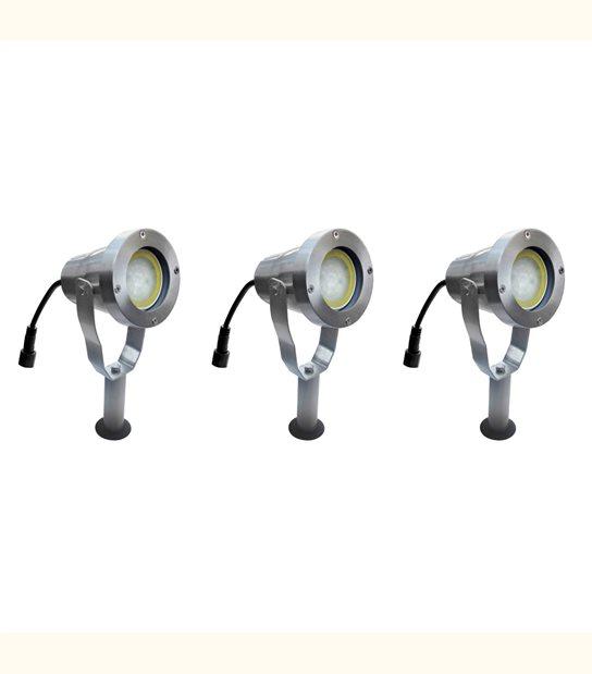 Pack 3 Spots projecteurs à Piquer ou visser Alu Brossé GU10 MR16 ou MR20 IP67 extérieur EASY CONNECT ampoules fournies - SPOT LED EXTERIEUR - siageo-led.com