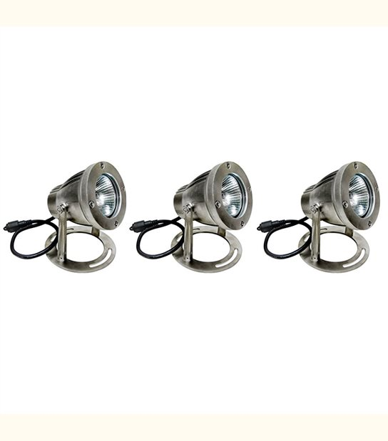 Pack 3 Spots projecteurs Alu Brossé GU10 MR16 ou MR20 IP67 extérieur EASY CONNECT ampoules fournies - PROJECTEUR JARDIN - siageo-led.com