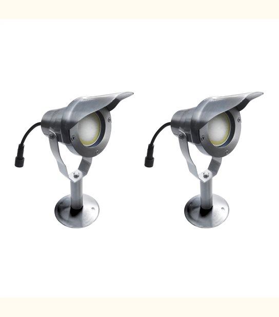 Pack 2 Spots projecteurs à Piquer Alu Poli OPTIMUM GU10 MR16 ou MR20 IP67 Orientable extérieur EASY CONNECT ampoules fournie - PROJECTEUR JARDIN - siageo-led.com
