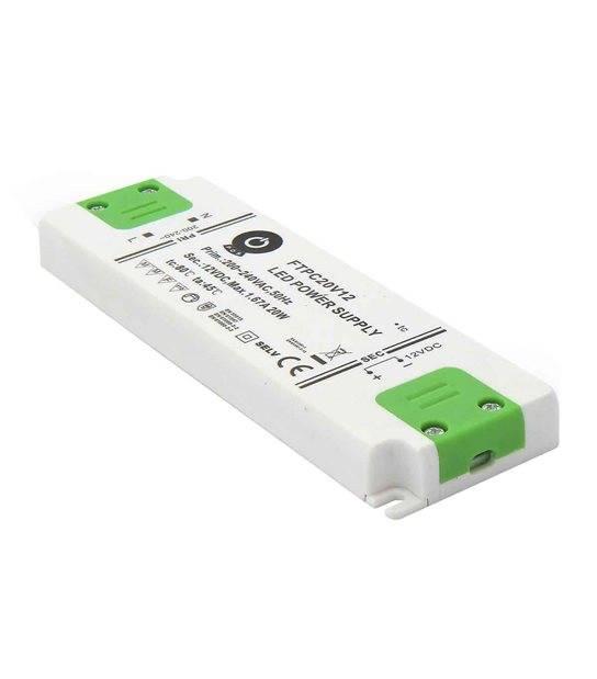 Transformateur électronique LED 20W 220-240V à 12V DC IP20 FTPC20V12 POS - 243318 - TRANSFORMATEUR ELECTRONIQUE - siageo-led.com