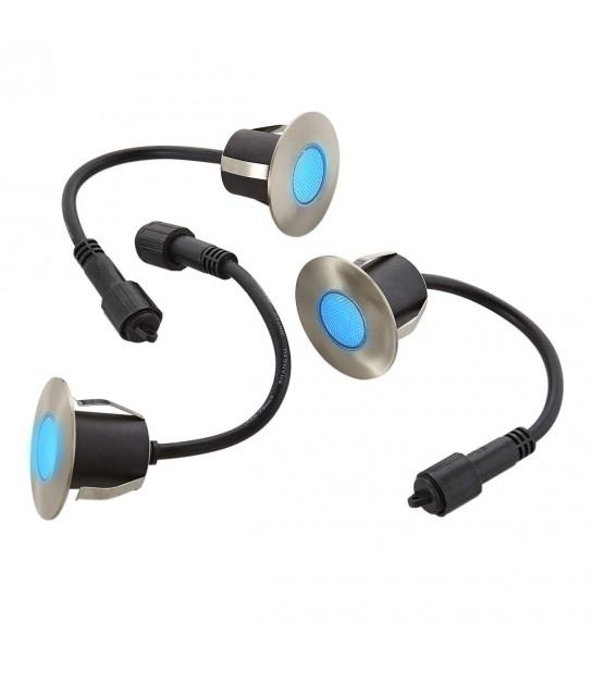 Lot 3 Mini Spot encastrable rond 6cm Inox Mini DECK Light 1.2W par spotW LED integrés IP67 Bleu extérieur EASY CONNECT - 654 - SPOT ENCASTRABLE JARDIN - siageo-led.com