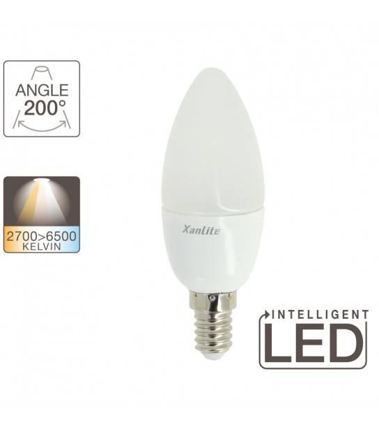 Ampoule LED E14 Flamme 3 Températures de blanc MEMO-K 6W 470Lm (équiv 40W) TriColor 200° XANLITE - SV40FCCT - CYBER WEEK - siageo-led.com