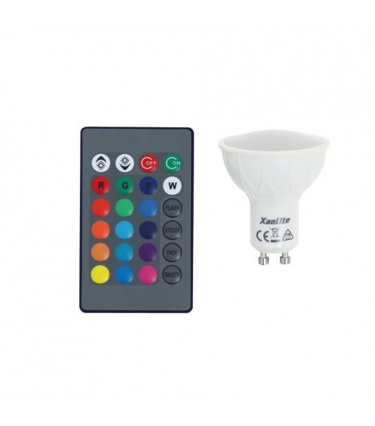 Ampoule LED GU10 MR16 COLOR - 4.2W 280Lm (équiv 60W) RGB 100° XANLITE - SGRVBRW - TÉLÉCOMMANDÉ - siageo-led.com
