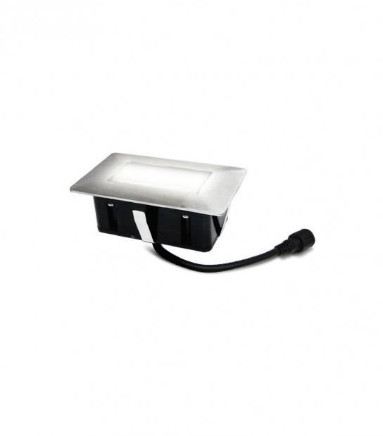 Mini Spot encastrable rectangle 6x10cm Inox Mini DECK Light 2W LED integrés IP67 Blanc Froid extérieur EASY CONNECT - 65440 - SPOT ENCASTRABLE JARDIN - siageo-led.com