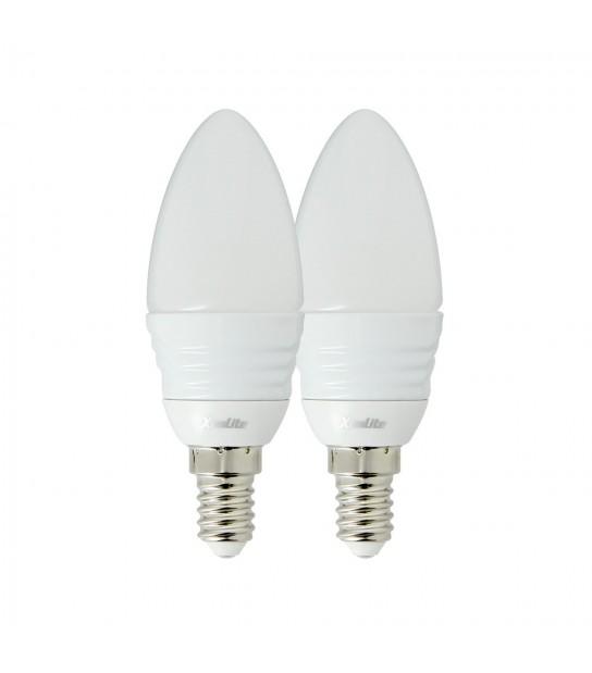 LOT DE 2 Ampoule LED E14 Flamme SMD 3W 250Lm (équiv 45W) Blanc Chaud XANLITE - E14 - siageo-led.com