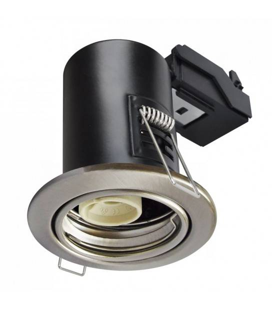 Spot encastrable anti-feu downlight Nickel satiné GU10 IP20 V-TAC - 3686 - ANTI-FEU - siageo-led.com