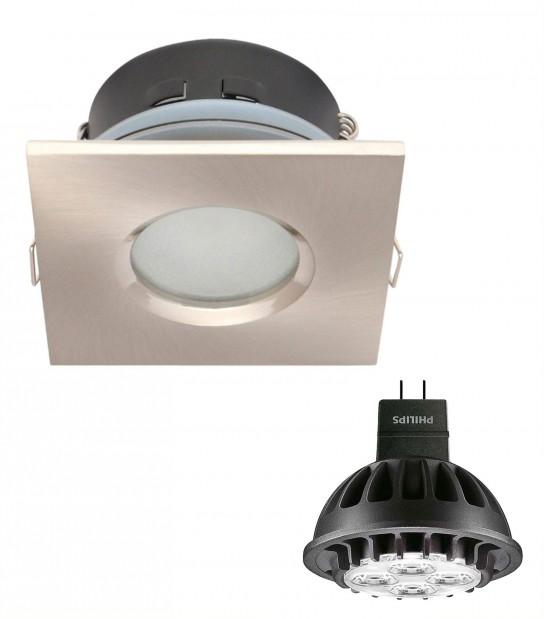 Pack Spot encastrable salle de bain Nickel satiné Carré GU5.3 MR16 IP65 7W Blanc Chaud ampoule fournie PHILIPS - PACK SPOT SALLE DE BAIN - siageo-led.com