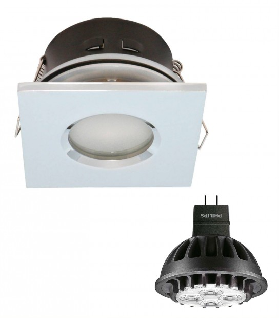 Pack Spot encastrable salle de bain Chrome Carré GU5.3 MR16 IP44 7W Blanc Chaud ampoule fournie PHILIPS - PACK SPOT SALLE DE BAIN - siageo-led.com
