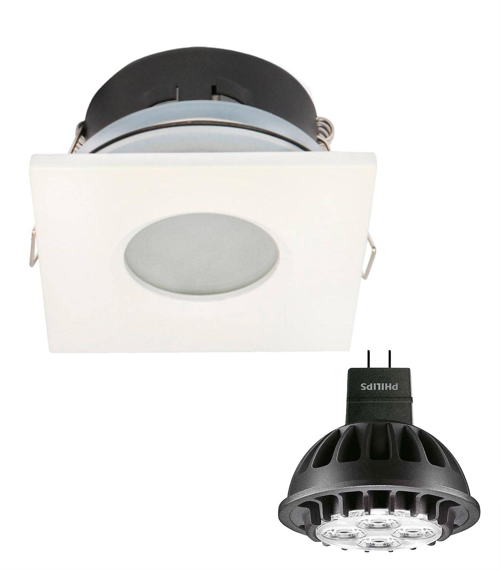 pack spot encastrable salle de bain blanc carr gu5 3 mr16 ip67 7w blanc chaud ampoule fournie. Black Bedroom Furniture Sets. Home Design Ideas