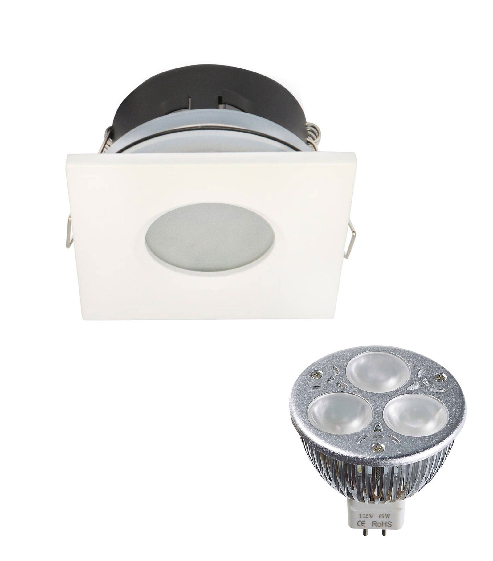pack spot encastrable salle de bain blanc carr gu5 3 mr16 ip44 6w blanc neutre ampoule fournie. Black Bedroom Furniture Sets. Home Design Ideas