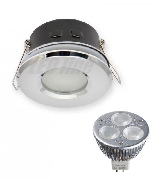 pack spot encastrable salle de bain chrome rond gu5 3 mr16 ip67 6w blanc neutre ampoule fournie. Black Bedroom Furniture Sets. Home Design Ideas
