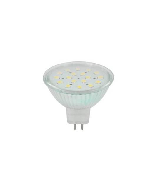 Ampoule GU5.3 (MR16) 24 LEDs SMD 4W Blanc Chaud 2800-3200K 12v Verre transparent V. - AMPOULE GU5.3 - siageo-led.com