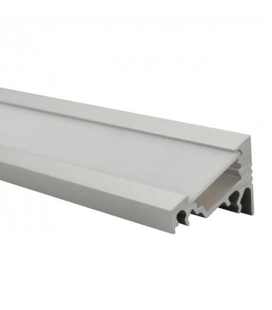 Profilé PROFILO C Aluminium incliné pour bande led 8mm - longueur 1 mètre - ACCESSOIRES RUBAN LED - siageo-led.com