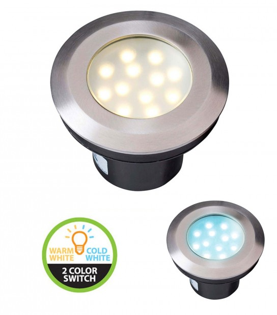 Spot encastrable GAVIA 2W PLATINE LED IP67 Blanc Chaud & blanc froid 3000-6000K Garden lights ampoule fournie - GL4134601 - SPOT ENCASTRABLE JARDIN - siageo-led.com