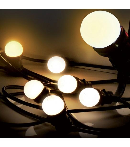 Guirlande festive classique 5M 8 ampoules LED E27 1W 230V blanc chaud EASY CONNECT - 63040 - GUIRLANDES - siageo-led.com