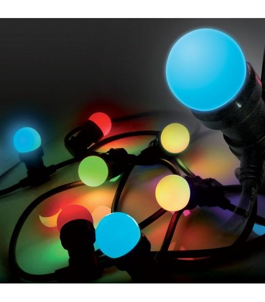 Guirlande festive classique 5M 8 ampoules LED E27 1W 230V multicolor EASY CONNECT - 63045 - GUIRLANDES - siageo-led.com