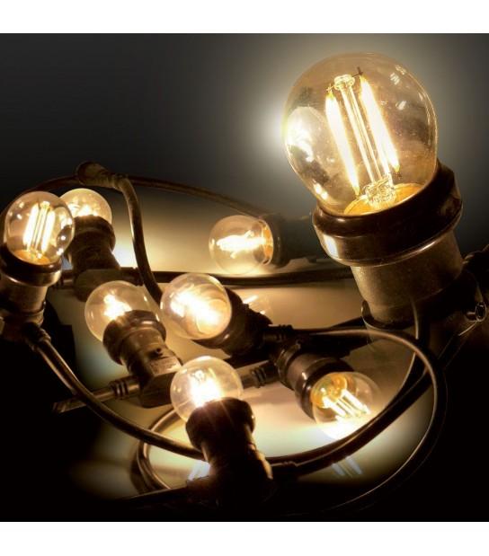 Guirlande festive classique 5M 8 ampoules LED E27 2W 230V blanc chaud EASY CONNECT - 63046 - GUIRLANDES - siageo-led.com