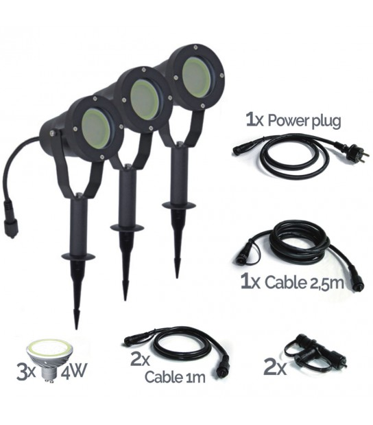 Pack 3 projecteurs aluminium noir IP67 MR20 LED 4W blanc chaud EASY CONNECT - 68150 - PROJECTEUR JARDIN - siageo-led.com