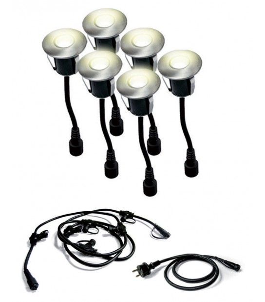Pack 6 mini spots encastrables LED ø45MM Blanc chaud 0,8W + connecteur EASY CONNECT - 68406 - SPOT ENCASTRABLE JARDIN - siageo-led.com