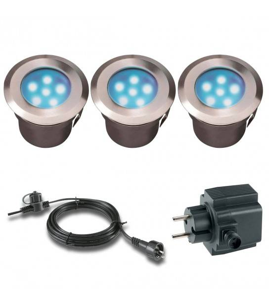 Pack 3 spots 0,5w Blanc froid Ext IP68 GardenLights ampoule+câble 10m+transfo fourni - ENCASTRABLE JARDIN - siageo-led.com