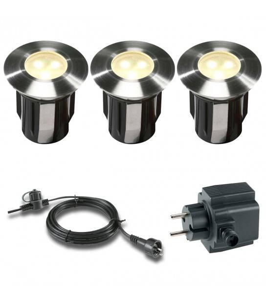 Pack 3 spots 1w Blanc Chaud Ext IP68 GardenLights ampoule + câble 10m + transfo fourni - ENCASTRABLE JARDIN - siageo-led.com