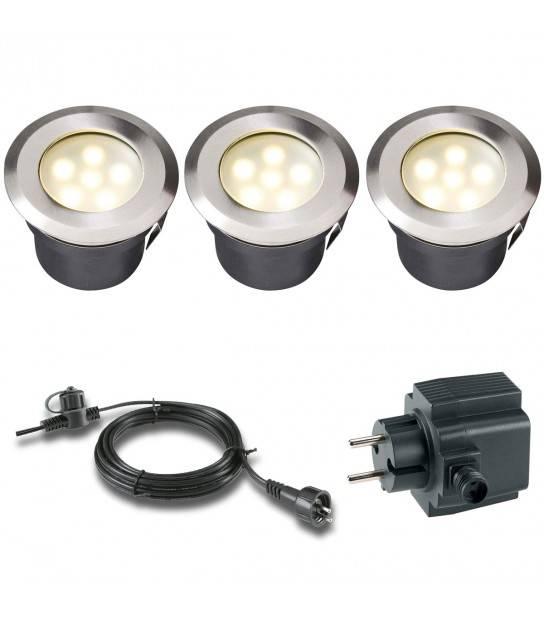 Pack 3 spots 1w Blanc Chaud Ext IP68 GardenLights ampoule+câble 10m+transfo fourni - ENCASTRABLE JARDIN - siageo-led.com