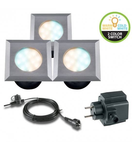Pack 3 spots 2w Blanc Chaud&froid Ext IP67 GardenLights ampoule + câble 10m + transfo fourni - ENCASTRABLE JARDIN - siageo-led.com