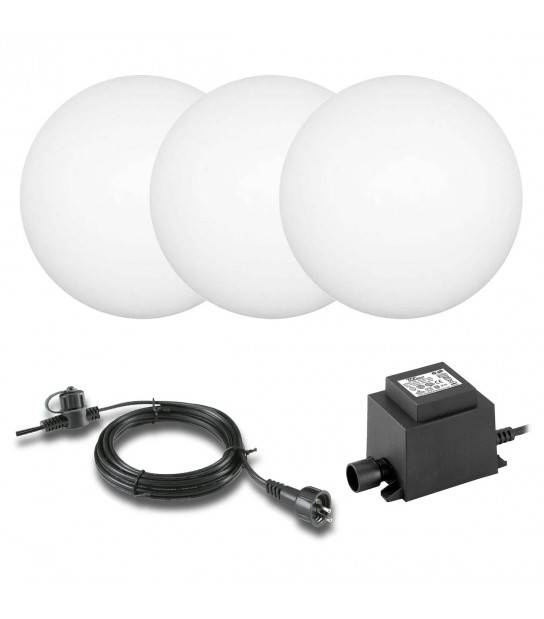 Pack de 3 sphères 2w RGB Ext IP44 GardenLights ampoule + câble 10m + transfo fourni - SPHERE JARDIN - siageo-led.com