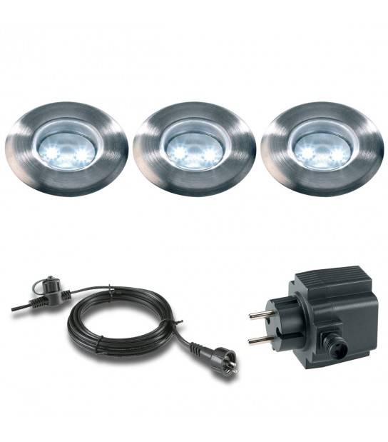 Pack 3 spots 0,5w Blanc froid Ext IP68 Garden Lights ampoule + câble 10m + transfo fourni - ENCASTRABLE JARDIN - siageo-led.com