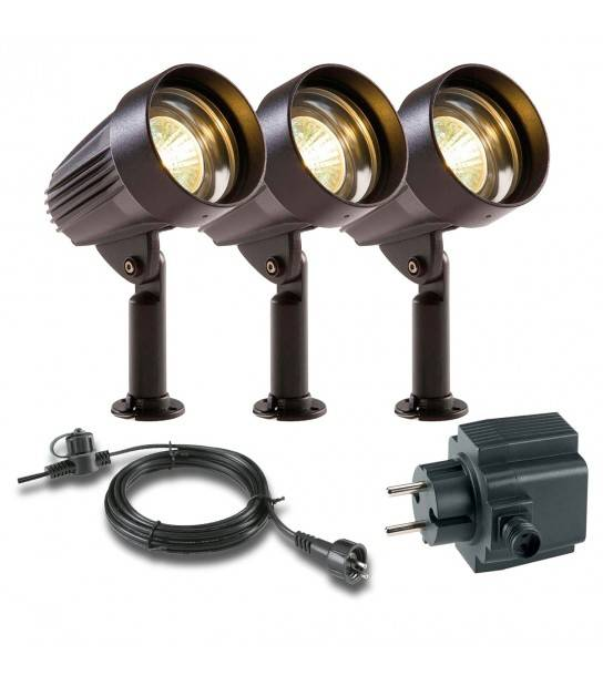 Pack de 3 sots 5w Ext IP44 Garden Lights ampoule + câble 10m + transfo fourni - PROJECTEUR JARDIN - siageo-led.com