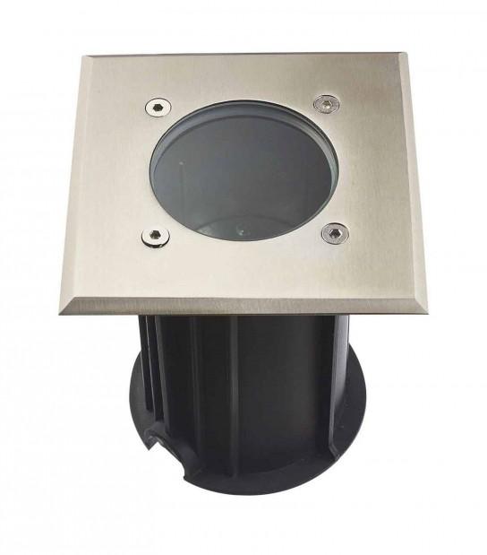 Spot encastrable Carré TORONTO INOX 316L (montage en série avec 2 presses étoupe) CLEAR GU10 220V IP67 HIPOW - ENCASTRABLE JARDIN - siageo-led.com