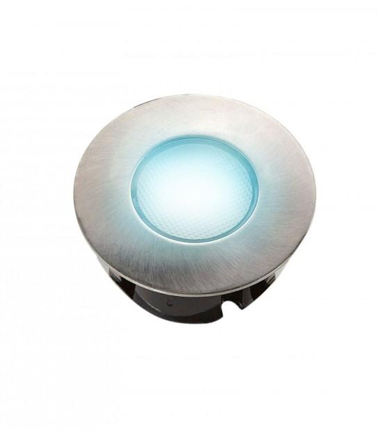 Mini Spot encastrable rond 7.5cm Inox Mini DECK Light 2W LED integrés IP67 Bleu extérieur EASY CONNECT - SPOT ENCASTRABLE JARDIN - siageo-led.com