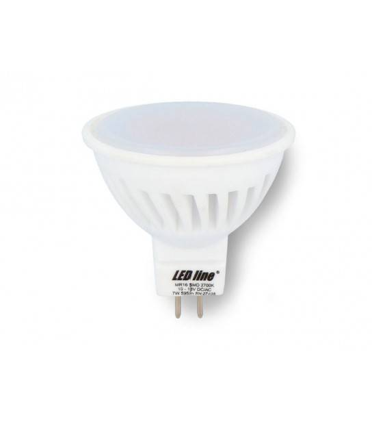 Ampoule LED SMD 12V GU5.3 MR16 7W 595LM Blanc chaud 2700K LED LINE - AMPOULE GU5.3 - siageo-led.com