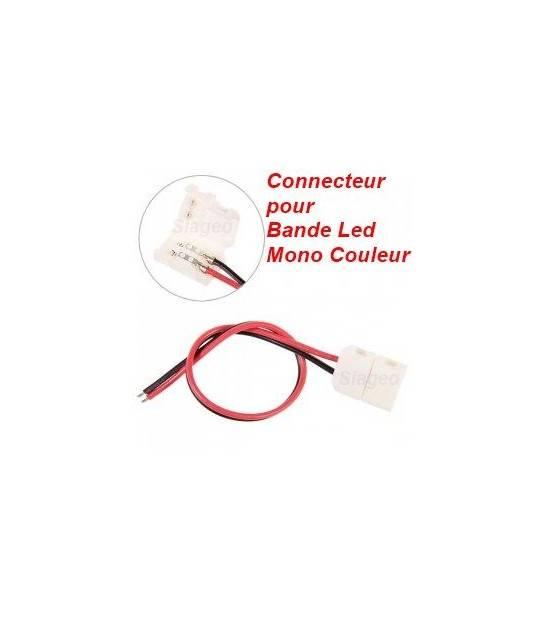 Clip Connecteur Raccord Pré-Cablé Pour Bande Led Mono Couleur en 10mm - CYBER WEEK - siageo-led.com