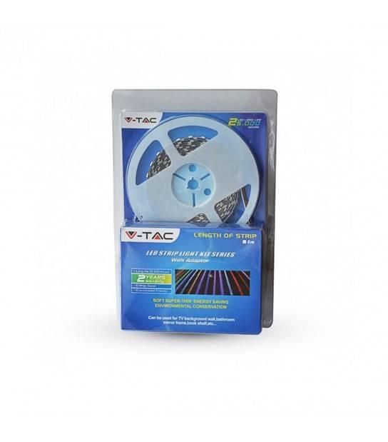 Ruban LED à 150LEDs SMD5050 RGB 12V 5mètre 4.8W NON-ÉTANCHE avec transformateur V-TAC - 2350 - Accueil - siageo-led.com