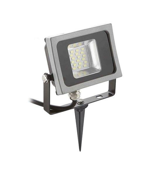 Pack projecteur LED SMD corp noir design plat 10W équi 50W IP65 Blanc neutre extérieur+ Support à piquer Noir V-TAC - PROJECTEUR ARBRE - siageo-led.com